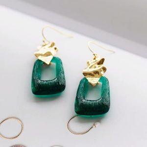 Alexis Bittar Crumpled Drop Wire Earrings Green